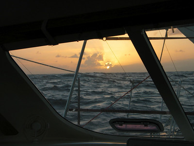 View of sunset in the Southern Ocean through our front windows on our way to Tahiti