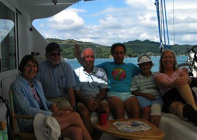 Susan, Steve, John, David, Ella and Dorothy aboard ADAGIO in Parakura Bay, Bay of Islands
