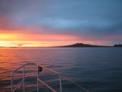 Sunset from our anchorage at West Bay, Motuihe Island, with Rangitoto Island