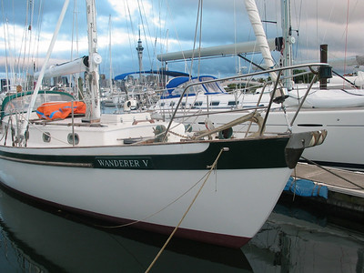 The Hiscocks last globe trotter WANDERER V, now under new ownership at Westhaven Marina