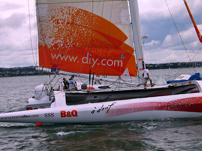 British  singlehander Ellen MacArthur completed her nonstop lap around  the planet aboard the 75-ft trimaran B&Q, in a record-breaking  time of 71 days, 14 hours, 18 minutes, 33 seconds, on Feb 7, 2005. For the latest see her website here http://www.teamellen.com.