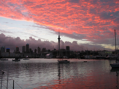 View of Auckland skyline from our berth at Westhaven Marina