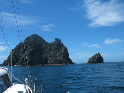 Piercy Island astern. ADAGIO has just sailed between Piercy Island and Cape Brett, returning home to the Bay of Islands after four years
