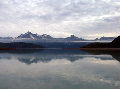View from our anchorage in Reid Inlet at sunrise