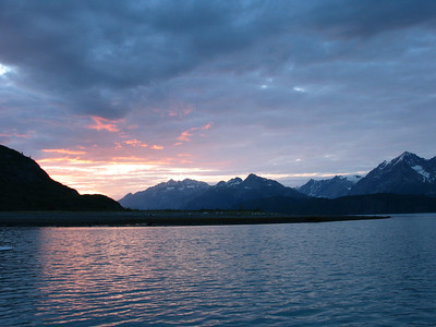 View from our anchorage in Reid Inlet at sunset
