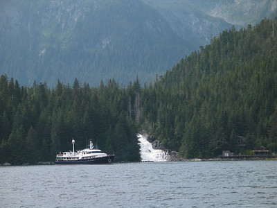 M/V Revelation is anchored right off the falls - the prettiest M/V in SE Alaska.