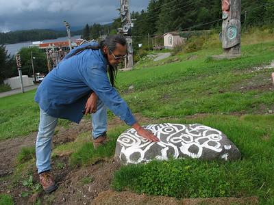 Ron telling the story of the Klawock Petroglyph Rock.