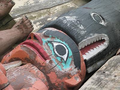 Old Totem Poles at Klawock Carving Shed
