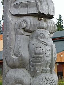 A modern totem at Hydaburg totem park.
