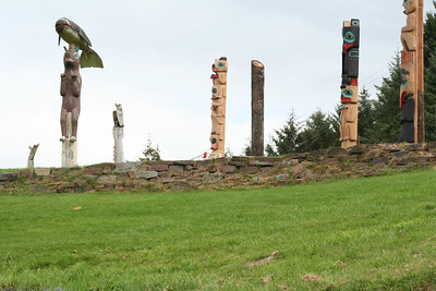 View of the Klawock totem park before the raising of the new poles.