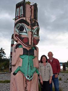Chuck and Gail at Hydaburg totem park.