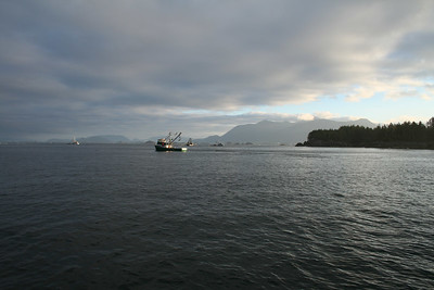 Heading north from Camp Coogan, through the fleet of fishing boats and their nets, near Sitka