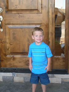 Handsome Boy Ready for his 1st Day of Preschool