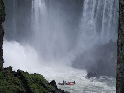 It must be quite impressive to be directly beneath these 250 ft hight falls.  There is no way to stay dry.