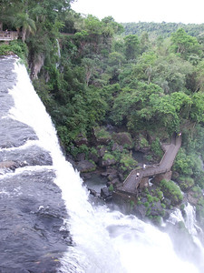 We looked down over the ledge of lava as teh waters thundered around us.