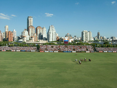 The Buenos Aires skyline from our seats. The highrise apartments to our right on the sunny side of the field don't need to buy $100 tickets to see the action.