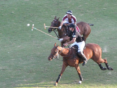 Several times we saw players mallet the ball on the fly. It looks nearly impossible on foot, but this class of player performs this feat at full gallop on horseback! And here we see TWO players on the airborne ball.