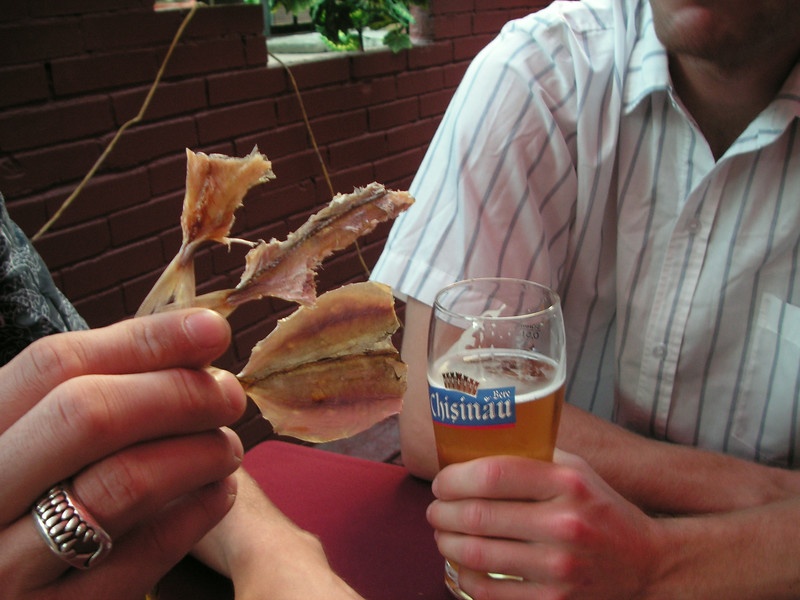moldova had the strangest beer snacks. dried little salted fishes. we ate them whole before told not to.