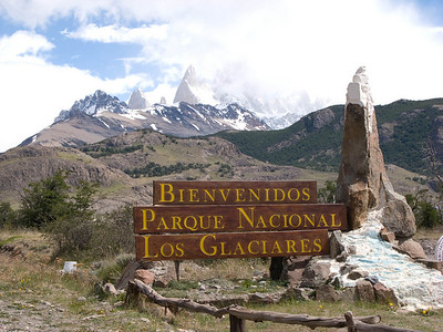 Entering into National Park of the Glaciars, with Mt. Fitz Roy in the background