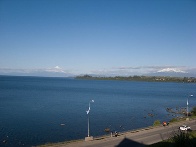 The two volcanoes visible from Puerto Varas. The one on the right is the most dangerous one.