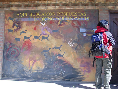 Poster of a famous Patagonian cave painting, in front of the Historical Museum in El Calafate.