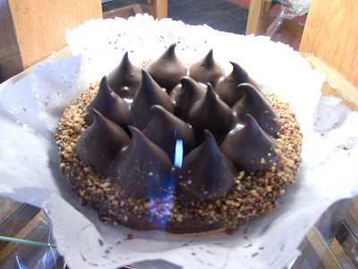 One of the cakes in a pastry shop in El Calafate. We saw a slice, and it showed that each of the chocolate drops is a large chocolate truffle.