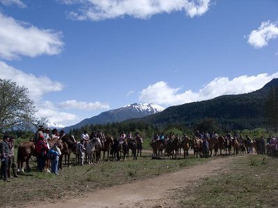 There were at least 100 horses and riders at the gathering.
