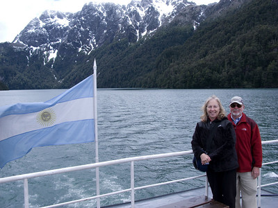 Chilean flag flies from the stern off our boat.