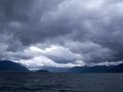 The clouds were as much a feature of the scenery as the water and the mountains.