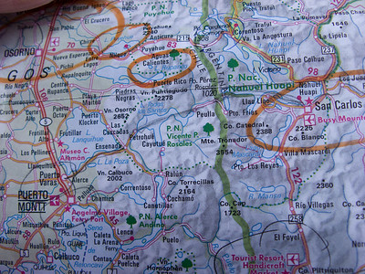 This map shows, drawn in pencil, our route from San Carlos de Bariloche, across the green line which is the Chilean border, and into Puerto Varas, north of Puerto Montt.