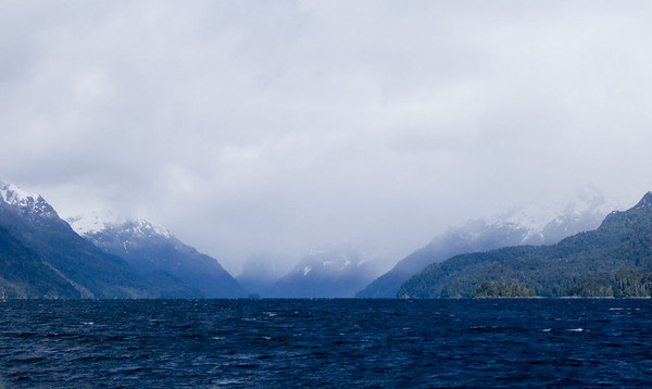 The Andes ahead as we head west on lake Hauel Huapi