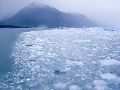 This is a side view of the floating ice between our boat and the face of the Upsala glacier.
