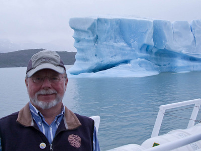 Steve and the boat provide a sense of scale for the berg.