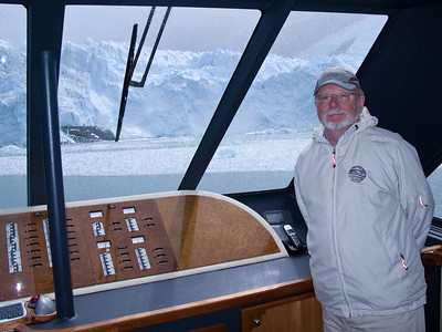 Steve was invited onto the captain's bridge - where it is dry. Yes, that's glacial rain on the windshield...