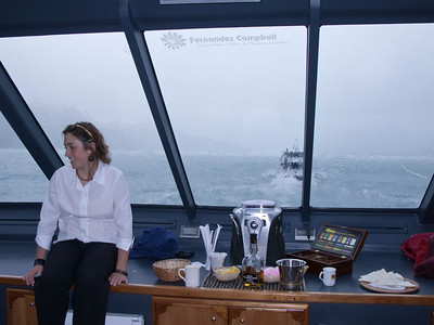 Steve and I had front row seats in the VIP section. This was our view, our hostess Julia and the cappuccino machine.