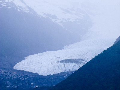 This is a view of the Onelli glacier, hanging in its valley.