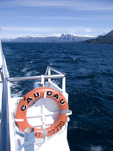 "Our lake crossing boat and mountain views.  ""Cau Cau"" means big sea gull."