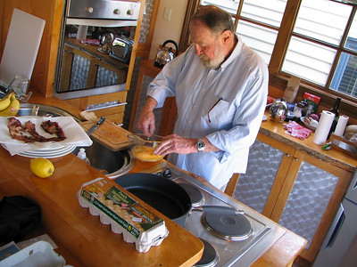 Chef Lester preparing another wonderful breakfast