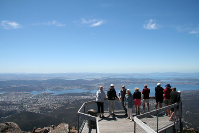 We took Lester and Betsy to the top of Mt. Wellington, and then she told us she was wasn't keen on heights!