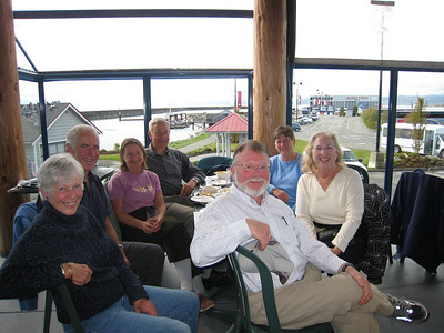 We joined our Ocean Cruising Club friends for lunch at the Ogden Point Cafe. Left to right: Penny, Tony, Jeanne, Shaun, Steve, Coryn, Dorothy