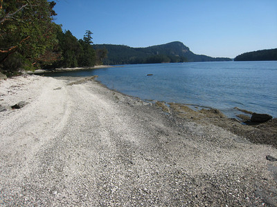 Beach formed from the shell middens of First Nation's peoples