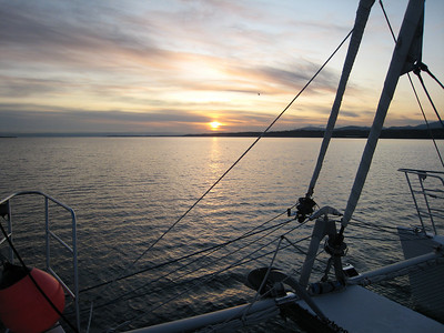 Crossing the Strait of Juan de Fuca at dawn.