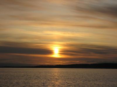 Crossing the Strait of Juan de Fuca at dawn.