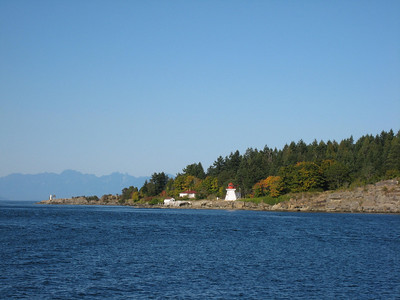 Canadian lighthouse on the shore as we made our way through Porlier Pass