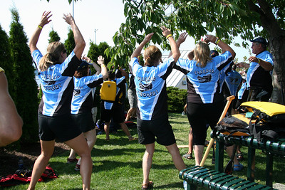 The Thunder Stokers warming up - and they made it to the Sunday semi-finals.