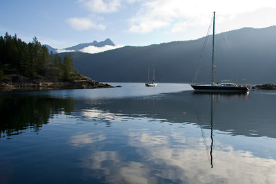 SPEEDWELL and MORNING CALM III anchored in Pendrell Sound in the morning