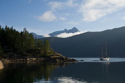 SPEEDWELL anchored in Pendrell Sound in the morning