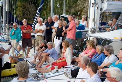 Audience watching Barrel of Monkeys performing at OCC party aboard ADAGIO