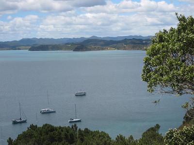 From L to R: PAJET, ADAGIO, KARMA at anchor at Roberton Island.