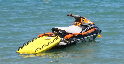 Life guard's jet ski with stretcher at Baie des Citrons